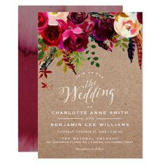 #WEDDING INVITATION | Elegant Floral Rustic Boho - #weddinginvitations #wedding #invitations #party #card #cards #invitation #floral
