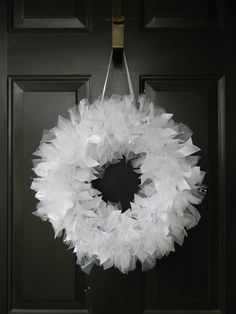 White Wedding Wreath with sparkly tulle and beading. Perfect Wedding and Shower decor. Customizable. $30.00, via Etsy.