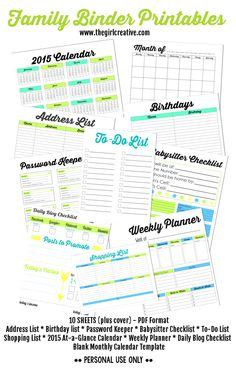 Free Household printables - Shopping List, To-Do List, Babysitter Checklist, At-a-Glance calendar, blank calendar template, weekly planner, daily blog checklist, password keeper, birthday list, address list, Family Binder Printables #organizationprintables #printableblogplanner