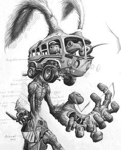 Weird Drawings, Trippy Drawings, Art Drawings, Creepy Art, Weird Art, Arte Horror, Horror Art, Surealism Art, Steampunk Illustration