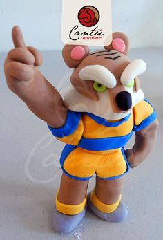 Mascota en fondant del equipo de TIGRES de la UANL. Monterrey, México