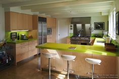 #Kitchen Idea of the Day: Green quartz countertops. Photo by Designer Kitchens LA.