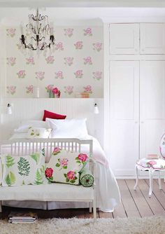 white with florals bedroom