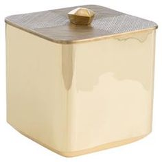 Polished Gilded Brass Etched Lid Ice Bucket | Kathy Kuo Home