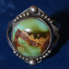 1920's Tonopah turquoise ring handmade Fred Harvey style. [I assumed this is Native American made but I'm not sure.]