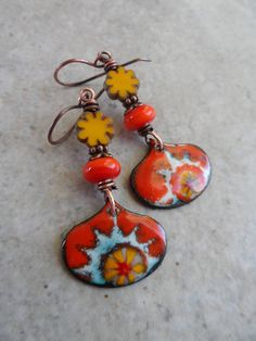 My Sunshine ... Artisan-Made Enameled Copper Charms, Lampwork, Czech Glass Flower and Copper Summer, Boho, Floral Earrings by juliethelen on Etsy https://www.etsy.com/listing/538150009/my-sunshine-artisan-made-enameled-copper