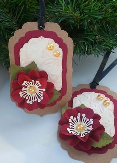 Handmade Holiday Tags- Christmas Tags - Gift Tags - Christmas Traditions  - Set of 2