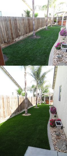 A beautiful and water saving Synlawn artificial grass before and after