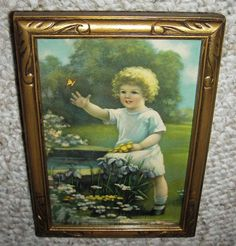 "Excited to share the latest addition to my #etsy shop: Nice Old 1940's Print of Little Girl With Flowers by Pond "" Rainbow of Love "" Signed Annie Benson Muller in Old Art Deco Frame With Glass http://etsy.me/2D9yGY2 #art #print #lithograph #pictureframe #artdeco #carve"