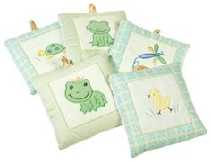 $14.99-$34.99 Baby Set of five soft wall hanging pieces, with embroidered applique frogs, a dragonfly, a turtle and a chick.Fun pond animals and a spring-like palette make the Froggy Tales wall hangings a sweet decorative element for a child's nursery or bathroom. Part of the Froggy Tales bedding line, the five square fabric hangings feature five different creatures--a dragonfly, a frog, a duck, ...