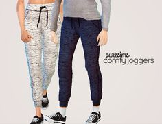 puresims:  comfy joggers another set of joggers because my sims have literally zero workout clothes !!!! (just like me) ps. this is a recolor, so you need to downloadthis mesh by @chisimi for these to work! download: simfileshare / mediafire