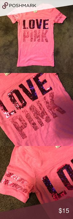 VS Pink sequined small fitted!  tee In EUC w/0 flaws, thx! All the sequins are in tact and going the same direction. They're not backwards for crazy looking. Worn a few times. Thanks! PINK Victoria's Secret Tops Tees - Short Sleeve