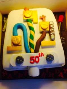 Uk plug cake. An electricians birthday cake.