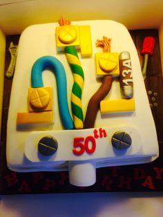 Uk plug cake. An electricians birthday cake.