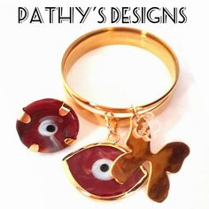 Set of two gold plated charm bracelet bangle and ring burgundy  Evil Eye. Gold plated charms and bangles. Handmade stones. One of a kind. by PathysDesign on Etsy
