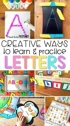Preschool and kindergarten children will enjoy these fun creative ways to learn and practice the alphabet The literacy activities include letter songs games books tracing crafts and FREE printable resources to build letter identification and phonics Toddler Learning Activities, Preschool Lessons, Alphabet Activities, Kids Learning, Letter Identification Activities, Teaching Letter Recognition, Interactive Learning, Kindergarten Literacy, Preschool Classroom