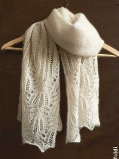 Knitted cream silk and mohair lace scarf. $90.00, via Etsy.