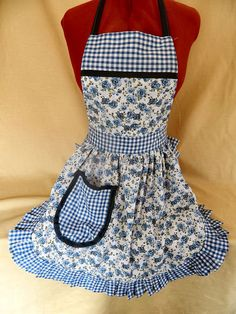 Vintage 50s Style Full Apron / Pinny in Blue & White Roses by FabriqueCreations, £20.00