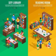 Library Isometric Vertical Banners by macrovector Isometric vertical banners with city library and reading room on green and yellow background isolated vector illustration. Editabl