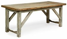 A NORTH EUROPEAN OAK AND LIME-WASHED PINE FARMHOUSE TABLE