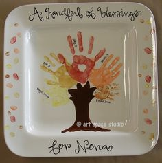 Handprints and fingerprints make this platter so special .. use fall colors or shades of green for spring and summer