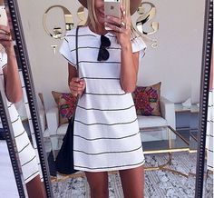 White and black striped shift