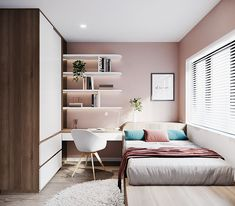 Small Room Design Bedroom, Small Bedroom Designs, Room Ideas Bedroom, Home Room Design, Trendy Bedroom, Bedroom Layouts, Aesthetic Bedroom, Apartment Interior, House Rooms