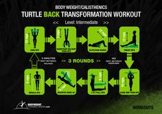 Intermediate - Turtle Back Transformation Workouts | bodyweighttrainingarena.com #workouts #calisthenics