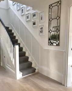 Image may contain: plant and indoor House Staircase, Staircase Design, Stairs, Stair Paneling, White Paneling, Wall Panelling, Hallway Inspiration, Home Decor Inspiration, Victorian Terrace Hallway