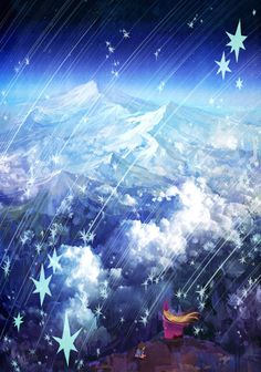 shooting star by mocott on DeviantArt Falling Stars, Love Stars, Sun Moon Stars, Night Pictures, Sky Sea, Wishing Well, I Love Anime, Shooting Stars, Texture Design