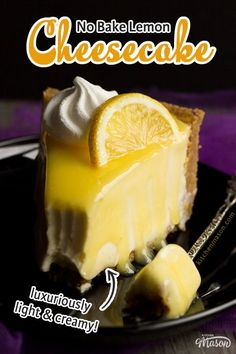 Light yet luxuriously creamy and indulgent, this zingy no bake lemon cheesecake recipe is easy to follow and yields seriously impressive results! Click for the recipe, helpful tips and your FREE e-cookbook! No Bake Vanilla Cheesecake, Lemon Cheesecake Recipes, Chocolate Cheesecake Recipes, Homemade Cheesecake, Baileys Cheesecake, Lemon Recipes, Easy Baking Recipes, Fun Easy Recipes, Best Dessert Recipes