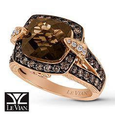 372476907 - LeVian Chocolate Quartz 1 1/5 ct tw Diamonds 14K Gold Ring