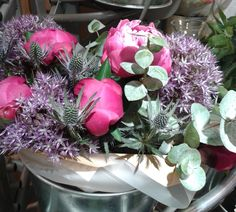 photo taken from a bouquet seen in Waitrose, like the texture and the purple and green palette. Red flowers instead of pink