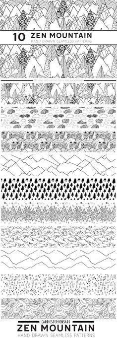 Zen Mountain, Seamless Repeat Geometric Line Patterns, Black and White Digital Papers + Seamless repeating pattern tiles that allow you to adjust the pattern to any scale or color of your choice! They feature dunes, grass knolls, snow covered mountains, Rigid mountain scapes and other hip patterns with a bit of a scandinavian vibe.