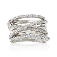 """Ross Simons .50 ct. t.w. Diamond """"Highway"""" Ring in Sterling Silver  -Love the effortless tangle of glimmer!"""