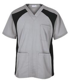 UA Butter-Soft Men's V-Neck Top with Knit Side Inserts Style # STN709C #uniformadvantage #uascrubs #menfashion #silver Spa Uniform, Scrubs Uniform, Men In Uniform, Scrub Suit Design, Scrubs Pattern, Greys Anatomy Scrubs, Medical Uniforms, Medical Scrubs, Nursing Dress