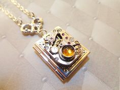 Steampunk Once Upon A Time Book Locket With Citrine by Treasurebay, $40.00