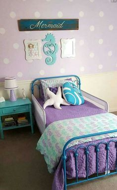 Darling! Lexie would love a blue bed to go with her purple quilt. Little Girl Rooms, Little Mermaid Room, Teal Girls Rooms, Baby Girl Room Themes, Mermaid Girls Rooms, Big Girl Bedrooms, Bedroom Themes, Teal Bedrooms, Preteen Girls Rooms