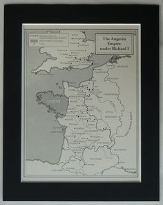 Vintage mounted print of the Angevin Empire during the reign of King Richard I Historical map art the ideal unique gift for those with an interest in