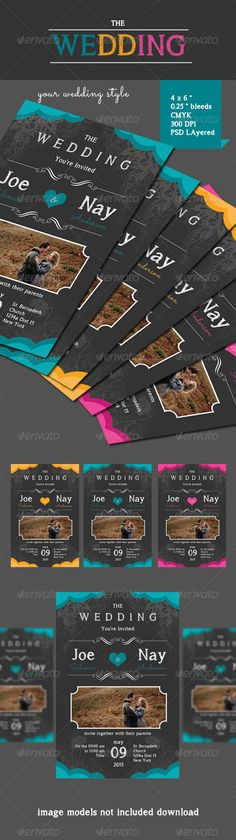 The Wedding Cards — Photoshop PSD #wedding #wedding card • Available here → https://graphicriver.net/item/the-wedding-cards/7143825?ref=pxcr