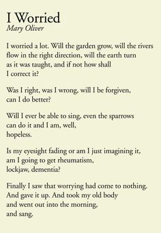 I Worried by Mary Oliver Poem Quotes, Words Quotes, Wise Words, Life Quotes, Sayings, Pretty Words, Beautiful Words, Cool Words, Mary Oliver Poems