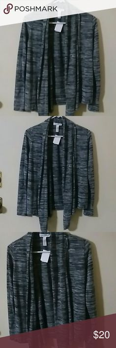 New Ambiance Cardigan New gray, black and white ambiance apparel Cardigan.    Size S 85%polyester 15%Rayon Ambiance Apparel Tops Tees - Long Sleeve
