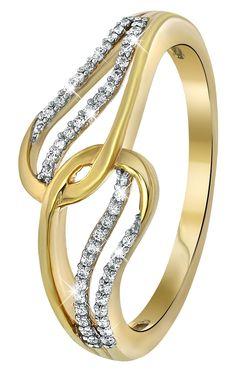 Geelgouden ring met diamant 0,13ct - Lucardi.nl