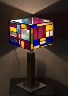 Stained glass lamp Mondrian. by