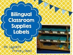 Classroom supplies labels for English, bilingual, or dual language classrooms!
