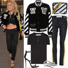 Tallia Storm was spotted leaving Isabel's restaurant in Mayfair wearing a Corduroy Varsity Jacket ($1,293.00), a Vintage T-Shirt ($333.00), Strap Skinny 5 Jeans ($612.00) and a Diagonal Flap Leather Shoulder Bag ($1,003.00) all by Off-White c/o Virgil Abloh, and Giuseppe Zanotti Hamony Patent Sandals ($565.00). You can find similar sandals for less at Lola Shoetique ($31.99).