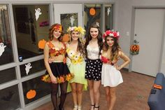 Winter, Spring, Summer and Fall! Four seasons! Girl Group Halloween Costumes, Team Costumes, Last Minute Halloween Costumes, Couple Halloween, Halloween Decorations, Halloween Party, Halloween Ideas, Halloween Stuff, Halloween Makeup
