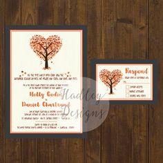 Fall Wedding Invitations Rustic Wedding par HadleyCustomDesigns