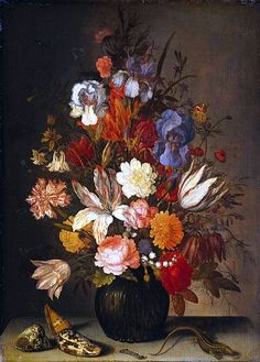 File:Balthasar van der Ast - Flowers in a glass vase, shells, a caterpillar and a grasshopper on a stone table (15214622871).jpg