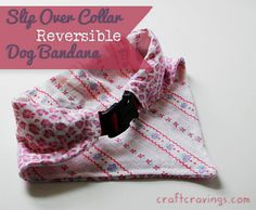 Slip Over Collar Reversible Dog Bandana (tutorial) - Craft Cravings #sewing #dog #pet #tutorial #diy